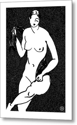 Nude Sketch 12 Metal Print by Leonid Petrushin