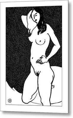 Nude Sketch 47 Metal Print by Leonid Petrushin