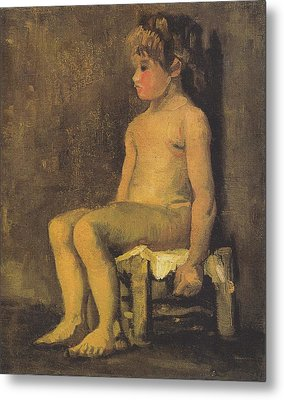 Nude Study Of A Little Gir Seated Metal Print by Vincent Van Gogh