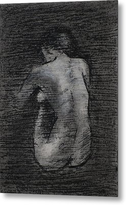 Metal Print featuring the drawing Nude Study....miniature by Lynn Hughes