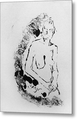 Metal Print featuring the painting Nude Young Female That Is Mysterious In A Whispy Atmospheric Hand Wringing Pose Highly Contemplative by M Zimmerman