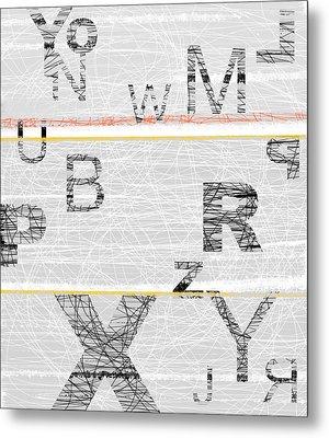 Numbers Grey Metal Print