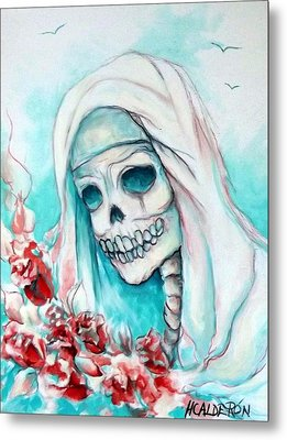 Nun With Flowers Metal Print by Heather Calderon