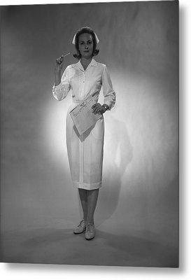 Nurse Holding Medical Chart Posing In Studio, (b&w), Portrait Metal Print by George Marks