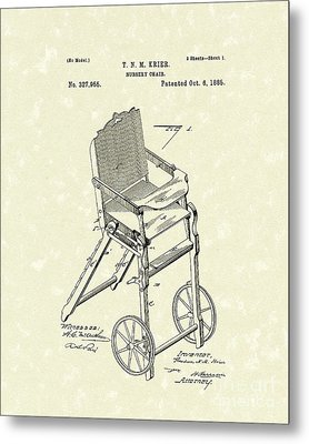 Nursery Chair 1885 Patent Art Metal Print by Prior Art Design