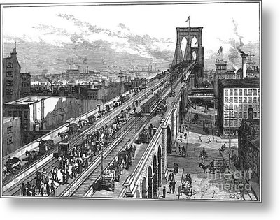 Ny: Brooklyn Bridge, 1883 Metal Print by Granger