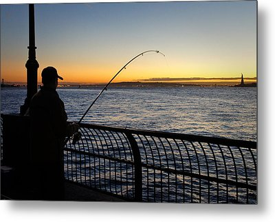 Ny Harbor Sunset Metal Print by Lynn Wohlers