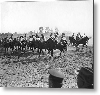 Ny Police Fencing On Horseback Metal Print