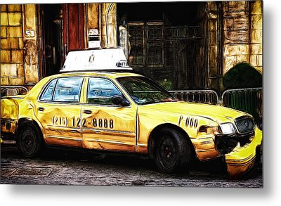 Ny Taxi Cab Metal Print by Fiona Messenger