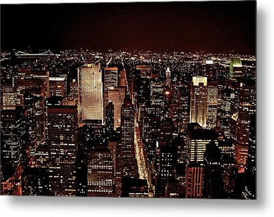 Nyc At Night Metal Print by Rawimage Photography