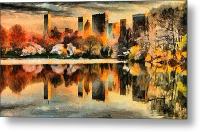 Nyc At Sunset Metal Print by Anthony Caruso