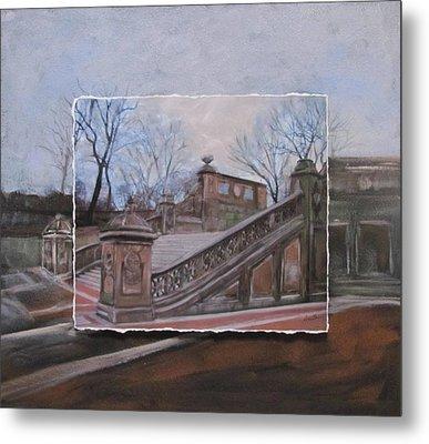 Nyc Bethesda Stairs Layered Metal Print by Anita Burgermeister