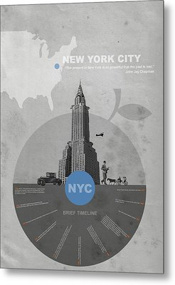 Nyc Poster Metal Print by Naxart Studio