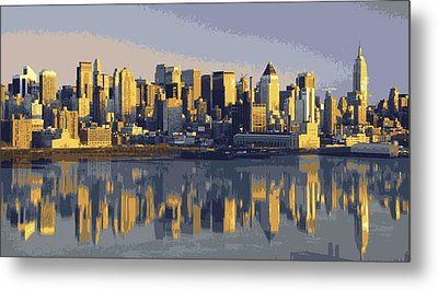 Nyc Reflection Color 16 Metal Print by Scott Kelley