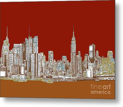 Nyc Skyline In Red Sepia Metal Print by Building  Art