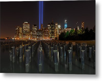 Nyc Tribute Lights - The Pier Metal Print