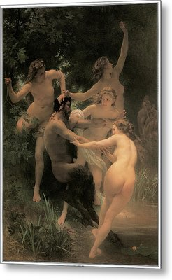Nymphs And Satyr Metal Print by Adolphe William Bouguereau