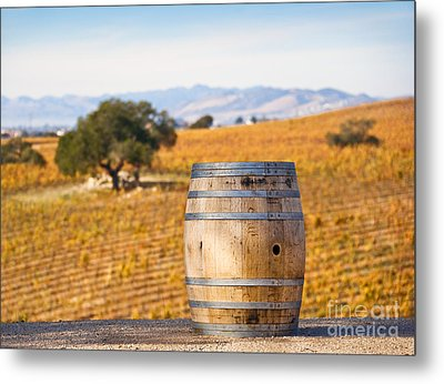 Oak Barrel At Vineyard Metal Print by David Buffington
