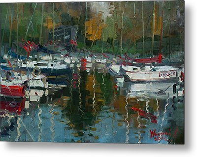 Oakville Harbour On Metal Print by Ylli Haruni
