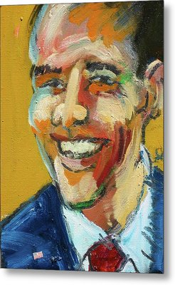 Metal Print featuring the painting Obama by Les Leffingwell
