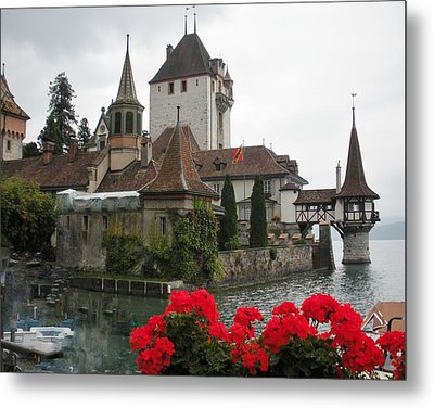 Oberhofen Castle Switzerland Metal Print by Marilyn Dunlap