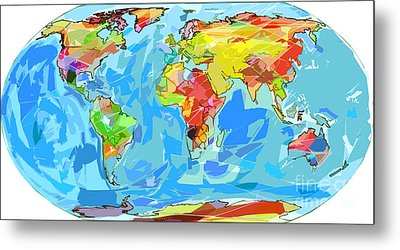 Ocean Currents World Map Metal Print by David Lloyd Glover