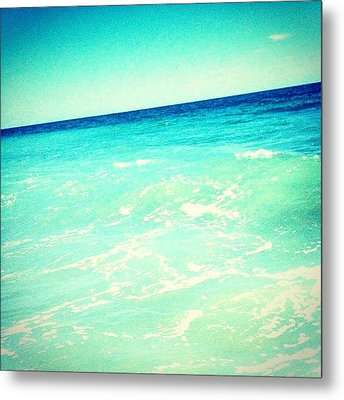 #ocean #plain #myrtlebeach #edit #blue Metal Print by Katie Williams