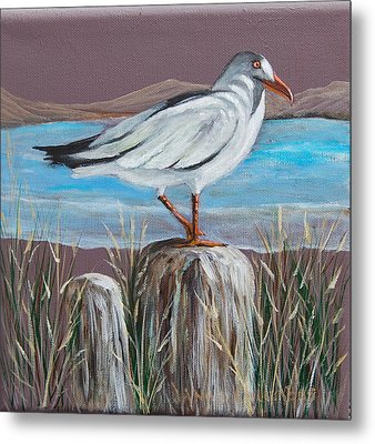 Ocean Sea Gull Metal Print by Janna Columbus