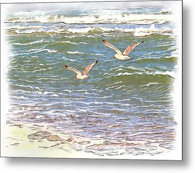 Ocean Seagulls Metal Print by Cindy Wright