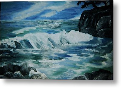 Metal Print featuring the painting Ocean Waves by Christy Saunders Church