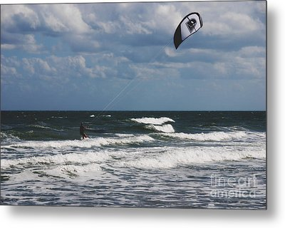 October Beach Kite Surfer Metal Print by Susanne Van Hulst