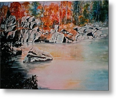 Metal Print featuring the painting October On The Little Wolf River by Carolyn Rosenberger