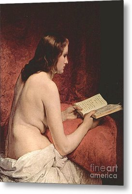 Odalisque With Book Metal Print by Pg Reproductions
