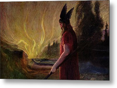 Odin Leaves As The Flames Rise Metal Print