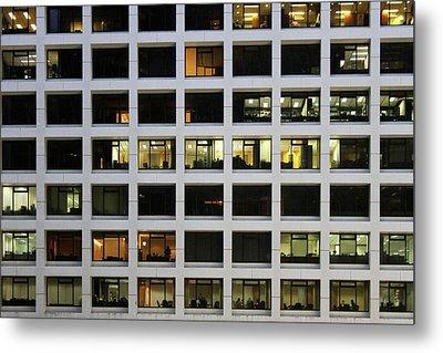Office Building At Night Metal Print by Lars Ruecker