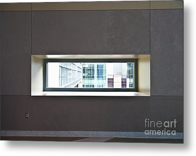 Office Buildings Seen Through Window Metal Print by Dave & Les Jacobs
