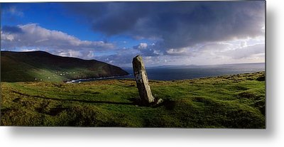 Ogham Stone At Dunmore Head, Dingle Metal Print by The Irish Image Collection