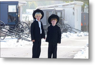 Oh So Cute Amish Boys Metal Print
