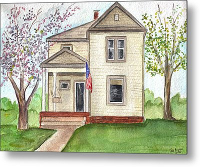 Metal Print featuring the painting Ohio Cottage With Flag by Clara Sue Beym