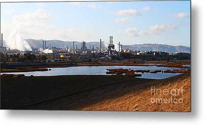 Oil Refinery Industrial Plant In Martinez California . 7d10398 Metal Print by Wingsdomain Art and Photography