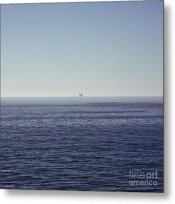 Oil Rig On Ocean Metal Print by Eddy Joaquim