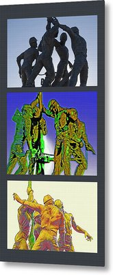 Oil Riggers Triptych Metal Print by Steve Ohlsen