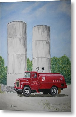 Metal Print featuring the painting Oil Truck by Stacy C Bottoms