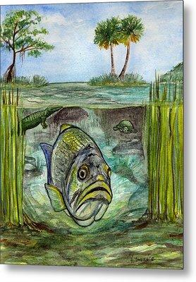 Okeechobee Underwater Metal Print by Heather Torres