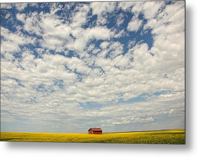 Old Abandoned Red Barn In The Midst Metal Print by Robert Postma