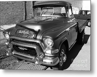 Old American Gmc Truck . 7d10665  . Bw Metal Print by Wingsdomain Art and Photography