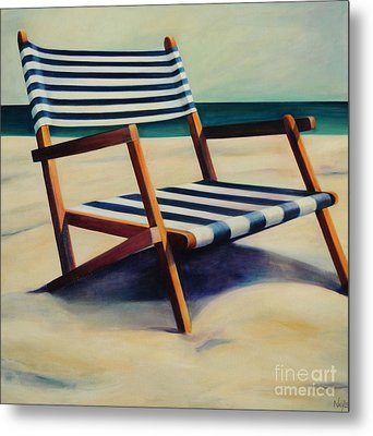 Old Beach Chair Metal Print by Mary Naylor