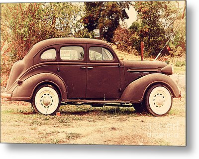 Old Black Plymouth Car For Sale . 7d8836 Metal Print by Wingsdomain Art and Photography