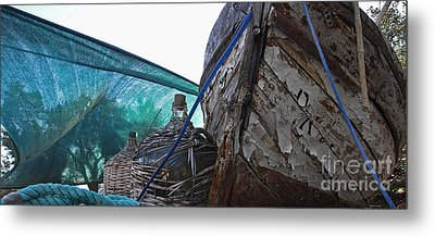 Old Boat And Flagons Metal Print by Andy Prendy