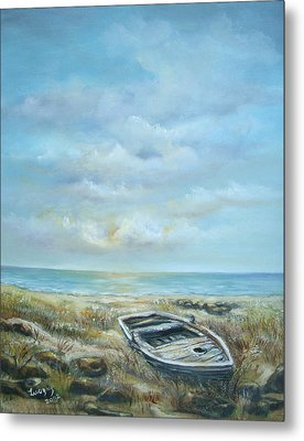 Metal Print featuring the painting Old Boat Beached by Luczay